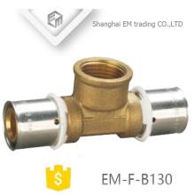 EM-F-B130 brass press fitting inox press fitting 3 way crimp copper pipe fitting