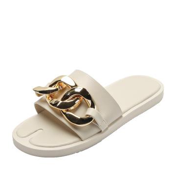2021 summer metal chain soft bottom lady slipper