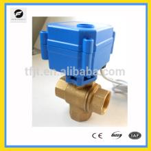 Robinet à commande électrique à trois voies de coupure de laiton de DC12V pour l'équipement de détection de fuites d'eau, système d'eau de commande automatique