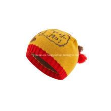 Вязаная шапка-бини из жаккардовых шаров для мальчиков и девочек