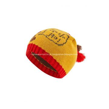 Gorro de Natal com bolas de jacquard para meninos e meninas