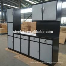 design de armário de cozinha de metal moderno