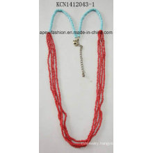 Red and Blue Seed Beads Necklace Fashion Jewelry