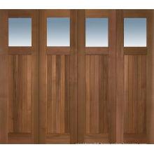 4 Panle Glass Mahogany Wood Solid Exterior Doors