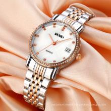 SKMEI 1830 Women Wrist Watch Gold Stainless Steel Crystal Quartz Watch