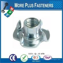 Fabriqué en Taiwan Finition en acier inoxydable Placé métrique Brad Hole Prong Zinc plaqué Standard Tee Nut