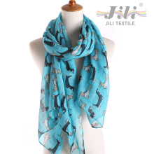 Latest Design New Fashion Voile Animal Dog Printed Long Winter Scarf for Lady