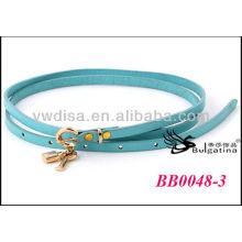 Azul moda couro de vaca cintos womens cintos de couro magro por atacado com 0,7cmW * 87,5 centímetros BB0048-3