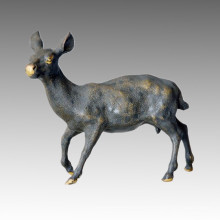 Tier Statue Hirsch Swiveling Kopf Bronze Skulptur Tpal-030