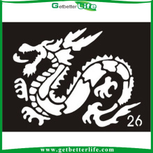 Getbetterlife 2015 caliente nuevo temporal tatuaje plantilla, plantilla de tatuajes de zodiaco chino diseño brillo