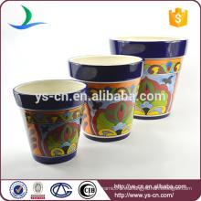 YSfp0007 Juego de 3 vasos de flores de cerámica de forma redonda para balcón