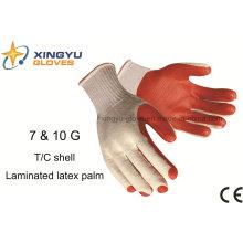 T / C Shell laminado de látex guante de trabajo de seguridad de palma (S1201)