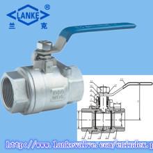 Válvula de bola fêmea de aço inoxidável de 2PC 304/316 para o uso da indústria
