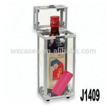 Nueva llegada! caja de vino de regalo de aluminio profesional para botella