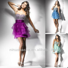 Chic Sweetheart Sequin Tiered Skirt Robe courte mini plissé Graduation Robe Homecoming
