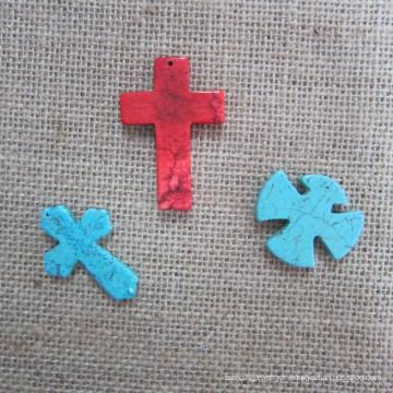 Pendentif croisé, Croix Turquoise de mode