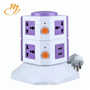 Universal White 2-USB 2-Layers Power Strip