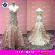 2015 New Arrival Real Photos Lace Appliqued Organza Mermaid Wedding Dresses