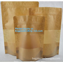 Food Grade Zip Lock Paper Brown Kraft Bag, reusable kraft paper food bag, resealable kraft paper mylar bags with ziplock