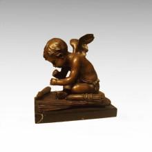 Kinder Figur Statue Winkel Cupid Bronze Skulptur TPE-918
