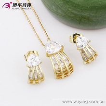 Xuping Fashion Popular Charming 14k chapado en oro Zircon Costume Jewelry Set -63446