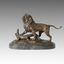 Animal Statue Lion&Crocodile Fight Bronze Sculpture, E. Delabrierre Tpal-156