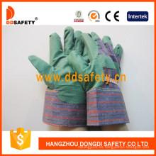 Guantes de PVC verde con espalda rayada Dgp104