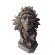 Бюст Бронзовой Скульптуры Индейских Вождей Металлические Изделия Латунь Статуя Т-922