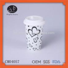 Hot selling plain white blank ceramic mug with silicone lid