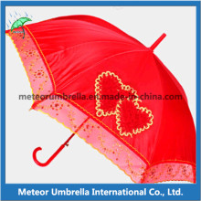 Straight Auto Open Wedding Umbrella with Lace Board