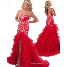 Red Mermaid Sweetheart Pageant Robe Robe de soirée Robe de soirée avec strass en cristal RO11-15