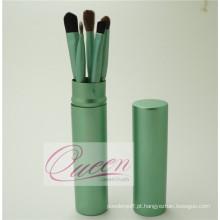 5PCS conjunto de escova de maquiagem de cabelo sintético com uma caixa de tubo verde
