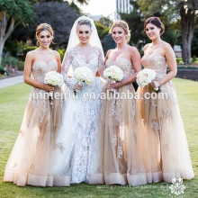 organza bridesmaid dress Sexy sweetheart exquisite lace appliques corset lace up gown custom made nude bridesmai