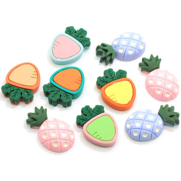 Factory New Arrive Radish Pineapple Resin Slime Charms Cabochons Flatback Carrots Pineapple Vegetable Fruit Slime Charms