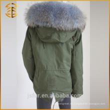 Großhandel bunte grüne Bomber Hooded Coat Overcoat Pelz Parka