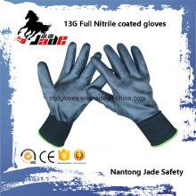 13G Voller schwarzer Nitril glatter überzogener Handschuh