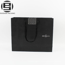 Black kraft paper bags rope handles