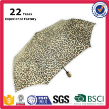 China Manufacturer Factory High Quality OEM Promotional Leopard Print Umbrella Automatic Open and Close