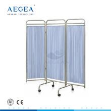 AG-SC002 Súper barato plegable pantalla de cama de hospital de sala de examen de paciente con ruedas