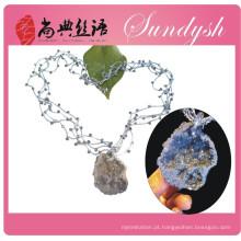 Jóias chinesas estilo trançado de malha Multi Strand Gemstone Necklace