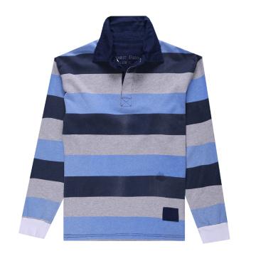 Lange Ärmel Streifen Garn gefärbt Polo Shirt