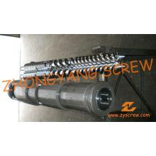 Parafuso duplo cônico Zyt421 e cilindro para folha de PVC