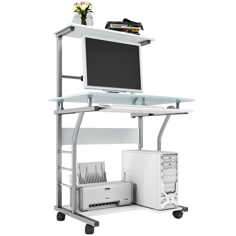Home Office Mobile Computer Desk With Glass Tabletop