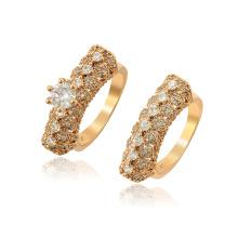 15848 xuping nova chegada de moda estilo real 18k cor de ouro zircão conjunto anel de mulheres