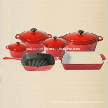 6PCS Emaille Gusseisen Kochgeschirr Set für Küche