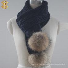 Art und Weise heißer populärer Dame-Winter-Häkelarbeit-Acryl gestrickter Schal mit Pelz-Ball