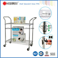 Commercial 2 Tiers Cable de acero inoxidable Utility Hand Push Trolley