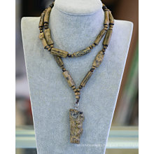 Fashion Precious Wood Stone Gemstone Gem Necklace Jewelry Decoration