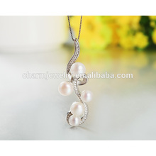 New Fashion Shape Five Pearl 925 Silver Necklace Famous Product In Western Country for Girls SCR029