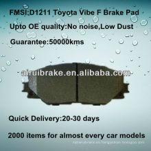 Piezas de freno semi-metálicas D1211 para Toyota Vibe